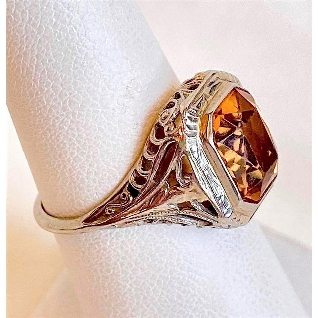 Antique 18k White Gold and Citrine Ring For Sale - Image 4 of 10