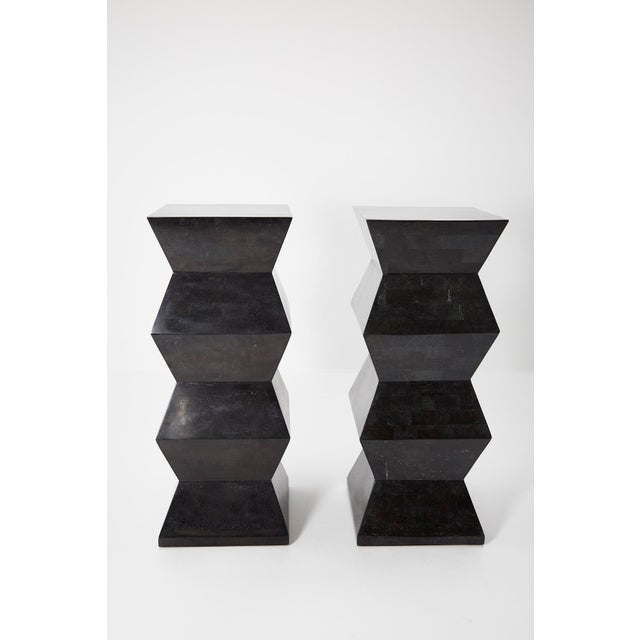 Contemporary 1990s Vintage Oversized Postmodern Tessellated Black Stone Accordion Pedestal For Sale - Image 3 of 13
