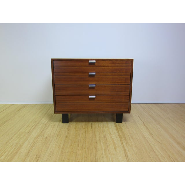 1950's George Nelson for Herman Miller BSC (basic cabinet series) dresser in walnut with satin black tapered legs....