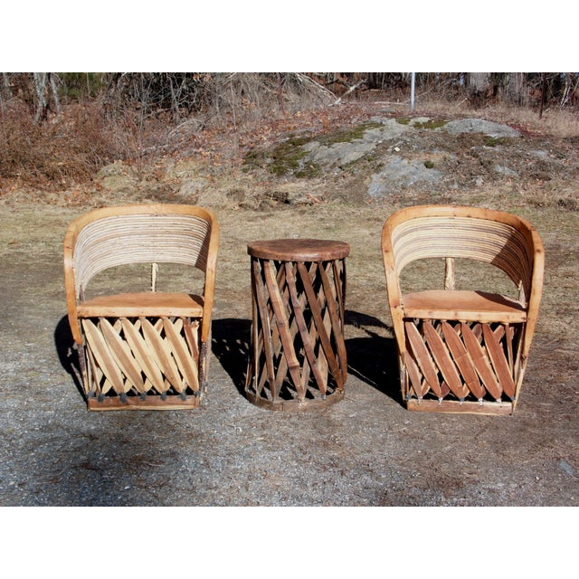 Rustic Vintage Mexican Equipale 2 Leather Barrel Chairs & Table Patio Café Dining Set For Sale - Image 3 of 11