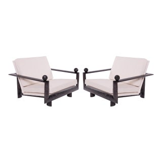 1960s Vintage Cerused Oak Marble and Upholstered Lounge Chairs- A Pair For Sale