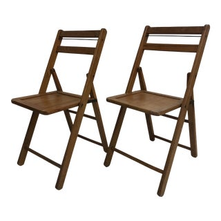Vintage Wood Slat Folding Chairs - a Pair For Sale