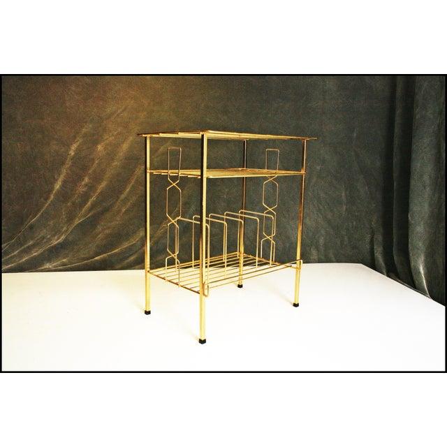 Mid-Century Modern Gold Record Rack - Image 9 of 11