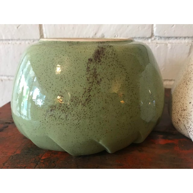 Vintage Speckled Green & White Pottery Planters - a Pair For Sale In Los Angeles - Image 6 of 11