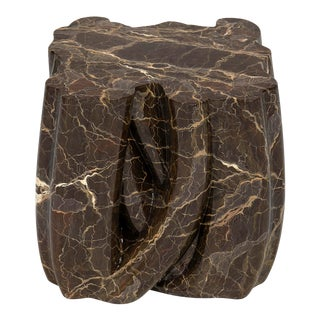 Covet Paris Monochrome Brown Faux-Marble Side Table For Sale