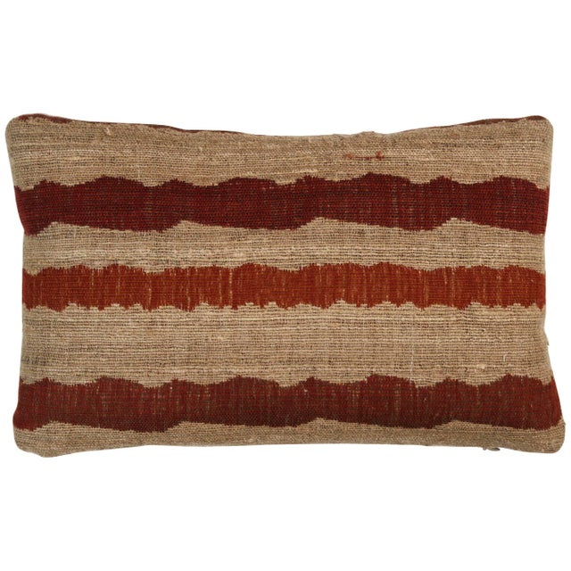 Indian Handwoven Pillow Ocean Stripe Warm For Sale - Image 4 of 4