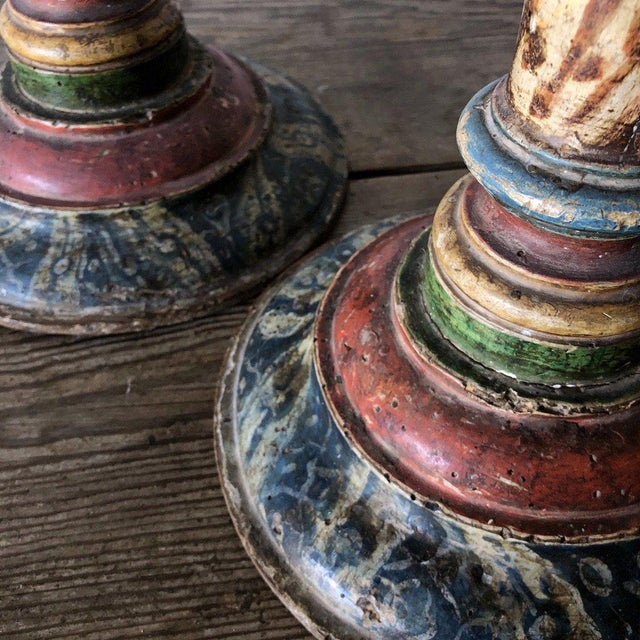 Pair of Turned Faux Painted Candlesticks For Sale In West Palm - Image 6 of 9