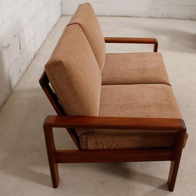 Vintage Teak Loveseat with New Upholstery - Image 3 of 10