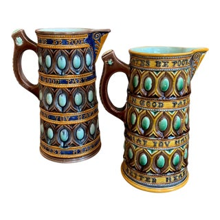 Set of 2 Antique English Wedgwood Majolica Pitcher Caterer Jug Shakespeare C1867 For Sale