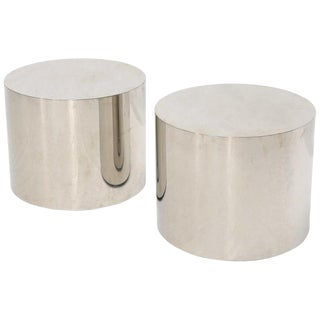Pair of Chrome Cylinder Side End Tables or Wide Pedestals For Sale