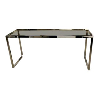 Mid Century Modern Milo Baughman Chrome & Smoked Glass Console Table 1970s For Sale