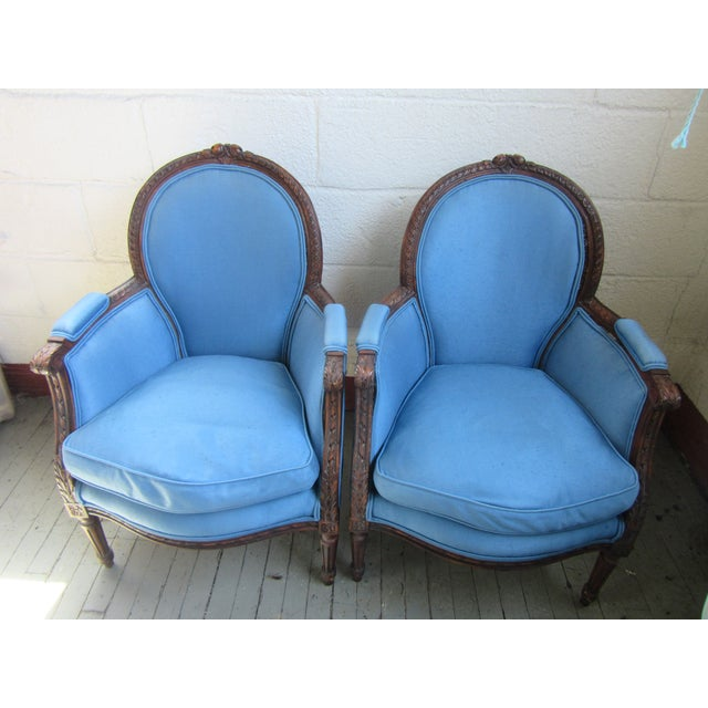 1940s Antique Petite French Blue Upholstery Carved Walnut Frame Fireside Chairs or Bergeres- a Pair For Sale - Image 11 of 13