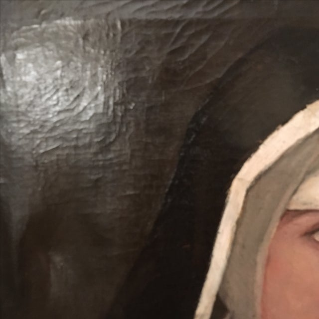 Antique Oil Painting of a Nun - Image 4 of 6
