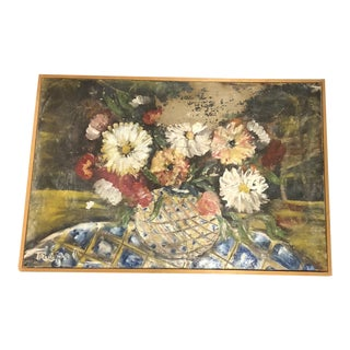 French Distressed Shabby Chic Floral Still Life For Sale