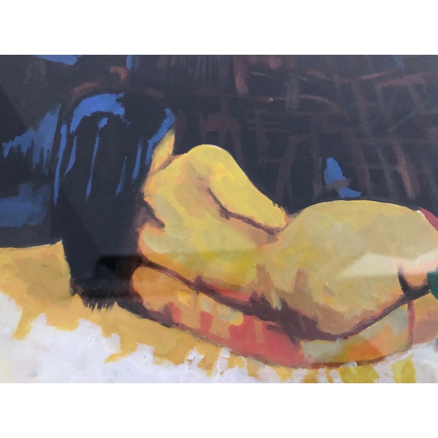 Exotic nude watercolor by Jerry E. Navarro (Philippines, 1924-1999). The nude is reclining in a beautifully painted...