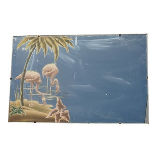 Vintage Mid Century Modern Turner Pink Flamingo & Palm Tree Wall Mirror Picture For Sale
