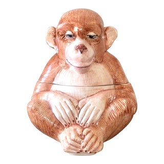 Vintage Vietri Italian Pottery Monkey Covered Dish For Sale
