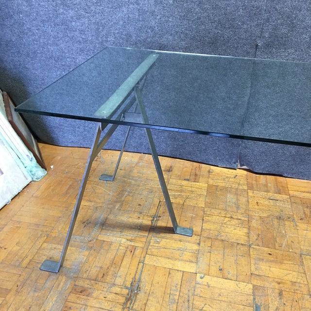 Glass & Metal Architect's Desk or Dining Table - Image 5 of 8