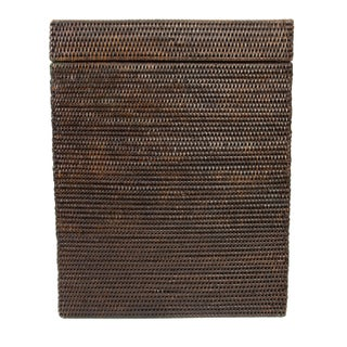 Boho Chic Artifacts Rattan Rectangular Hamper With Hinged Lid For Sale