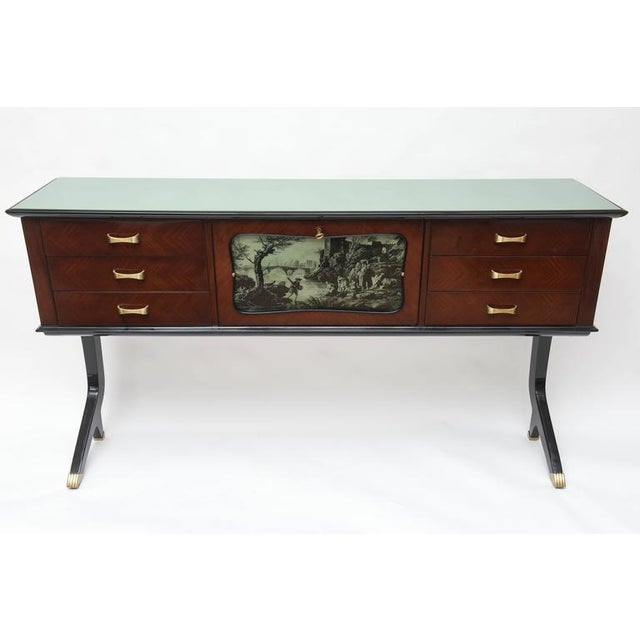 Rare and elegant Neapolitan dry bar or sideboard. Center bar with mirrored interior all original with foxing. Interior...