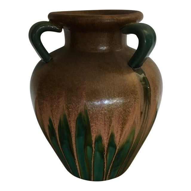Brown and Green Pottery Vase - Image 1 of 4