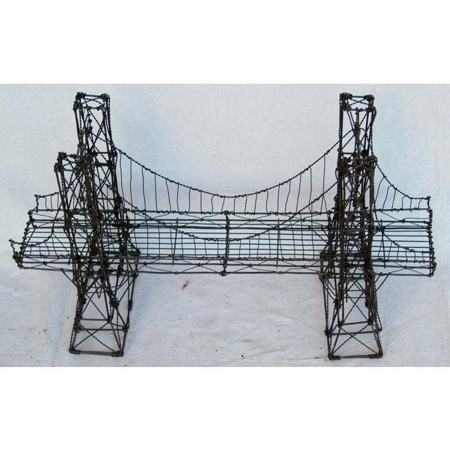 Mid-Century Handmade Wire Suspension Bridge Sculpture | Chairish