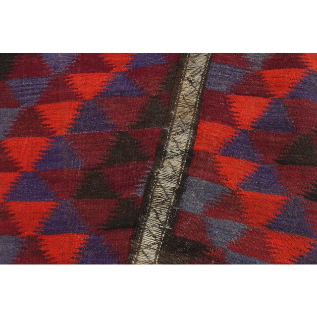 "Burgundy Antique Turkish Vintage Kilim Jamey Red Orange Hand-Woven Area Rug 3'11"" X 10'4"" For Sale - Image 8 of 10"