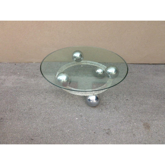 70's round cracked ice lucite with spaced chrome balls coffee table, wow! Sold as found in vintage condition. Chrome balls...