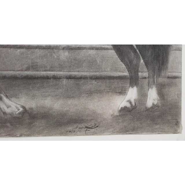 """1970s """"The Challenger"""" Original Charcoal on Paper Mid 20th Century For Sale - Image 5 of 10"""