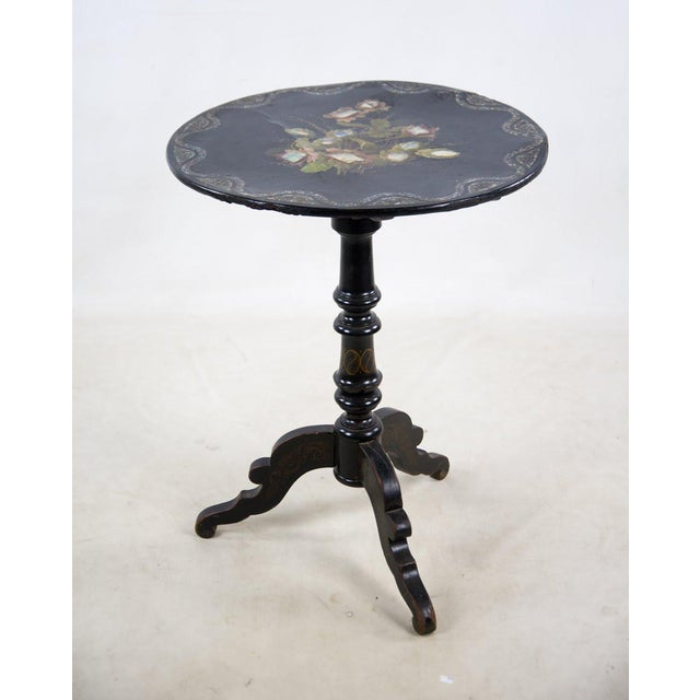 19th Century Victorian Papier-Mâché Round Mother-Of-Pearl Side Table For Sale - Image 11 of 11
