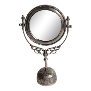 Vintage Silverplate Vanity Mirror on Stand For Sale