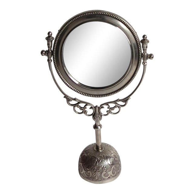 Vintage Silverplate Vanity Mirror On Stand Chairish