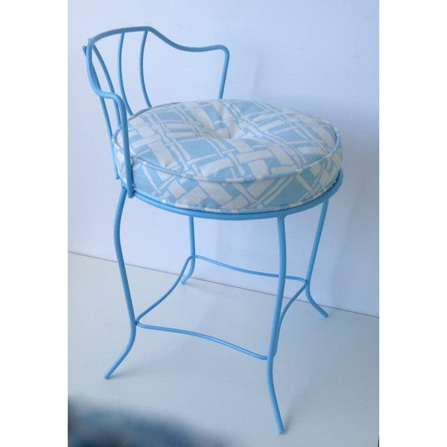 Contemporary Mid-Century Blue Metal Vanity Stool For Sale - Image 3 of 11
