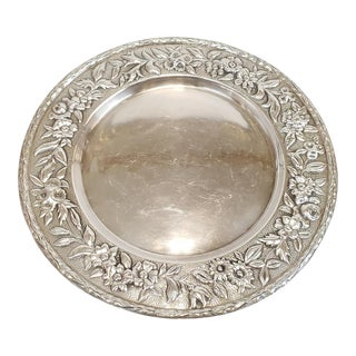 "Antique Sterling Silver Repousse 11"" Round Tray ~ 22.78 Troy Oz For Sale"