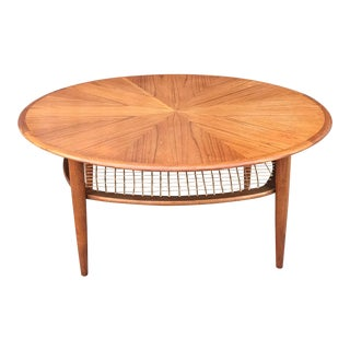 Vintage Teak Coffee Table With Cane Shelf