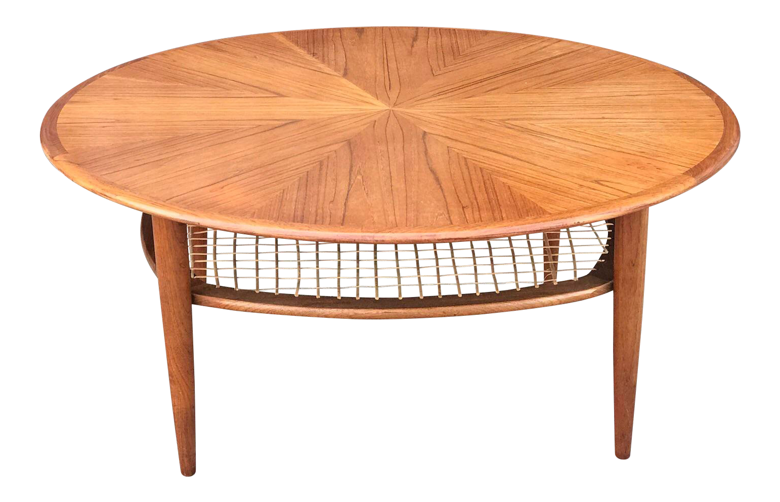 Vintage Teak Coffee Table With Cane Shelf