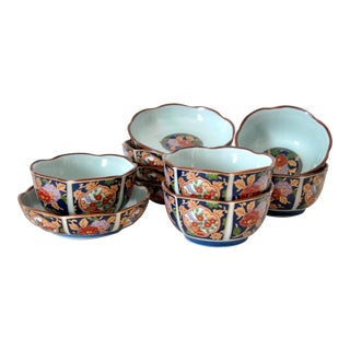 Imari Cherry Blossom Tea Cups and Saucers in Hinoki Wood Box - Set of 10 For Sale