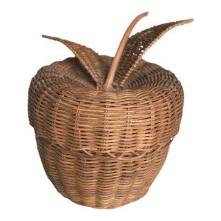 20th Century Cottage Wicker Apple Basket