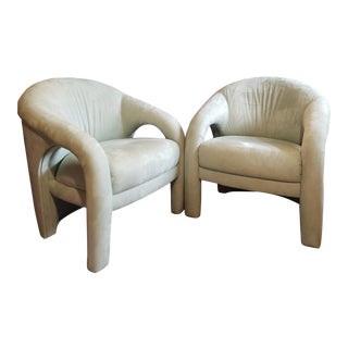 1980s Sculptural Arm Chairs in the Style of Vladimir Kagan - a Pair For Sale
