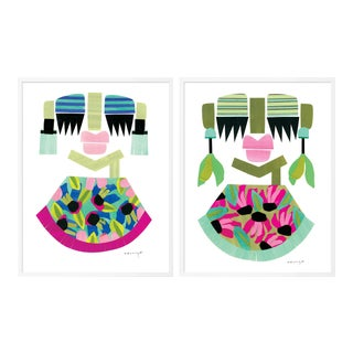 Clara & Amara Diptych by Melvin G in White Frame, Small Art Print For Sale