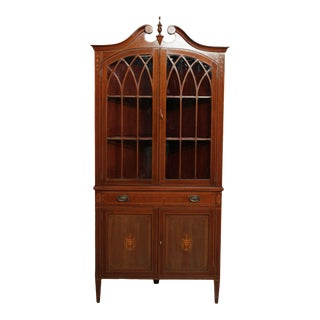 Hepplewhite Style Vintage Custom Quality Mahogany Inlaid Corner Cabinet For Sale
