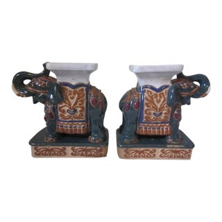 Miniature Elephant Garden Seats - a Pair For Sale