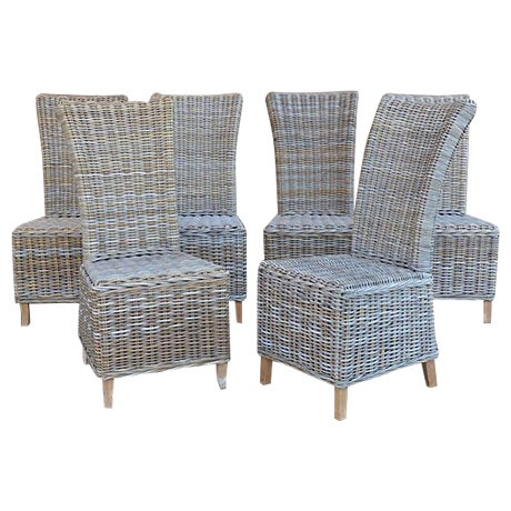 Rattan Wicker High Back Dining Chairs - Set of 6 For Sale