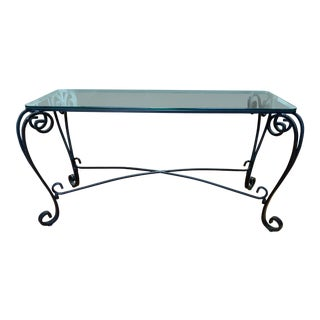 Italian Style Wrought Iron Scroll Base + Glass Console For Sale