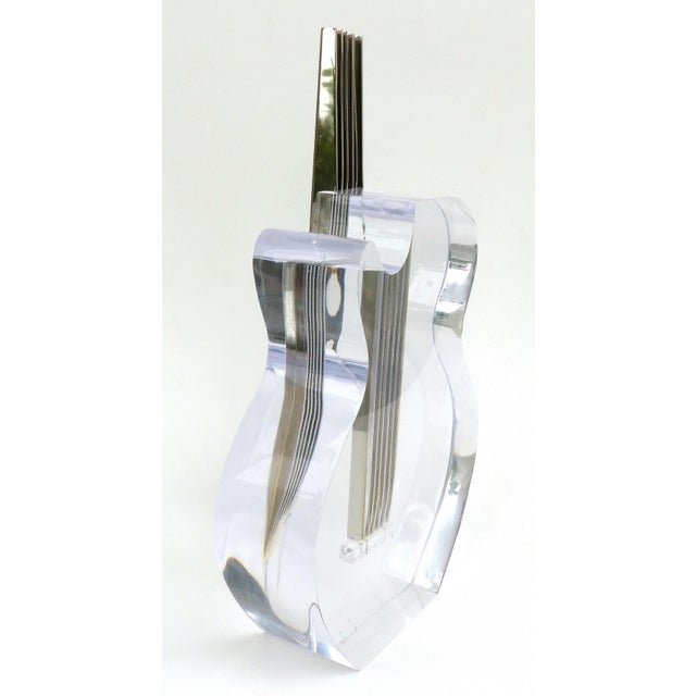 Metal Custom Lucite and Stainless Steel Sculpture of a Guitar For Sale - Image 7 of 13