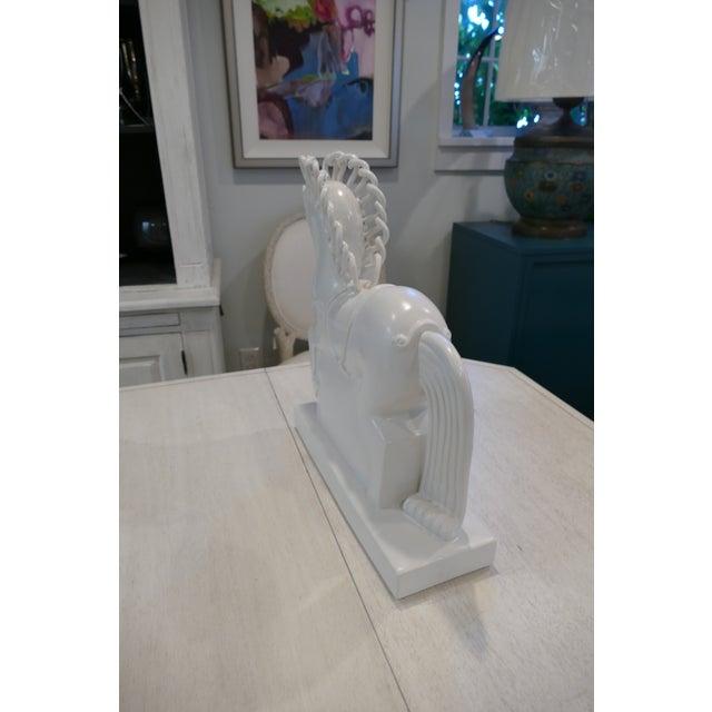 Art Deco White Ceramic Horse Figurine For Sale - Image 3 of 9