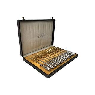 Antique European 800 Silver Gold Vermeil Desert Forks Boxed Set of 12 For Sale