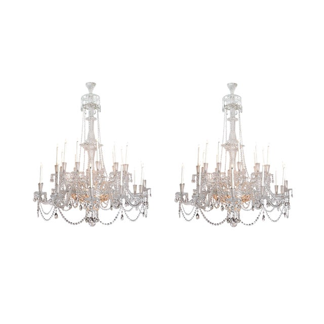 A Pair of Large Scale Majestic 24-Light Cut-Crystal Chandeliers For Sale