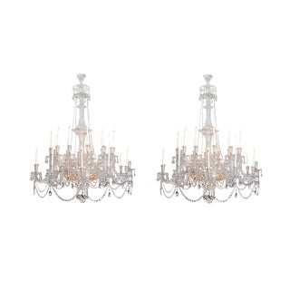 Pair of Majestic Mid-Victorian 24-Light Cut Crystal Chandeliers For Sale