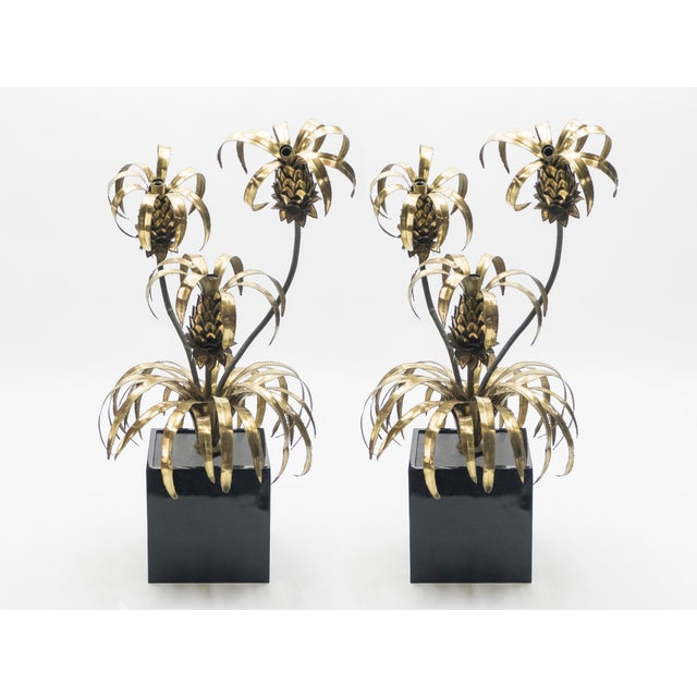 Gold Rare Pair of Hollywood Regency Brass Maison Jansen Pineapple Floor Lamps, 1970s For Sale - Image 8 of 13